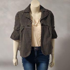 Polka-dot black and white blazer